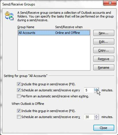 the outlook 2010 send and receive groups menu