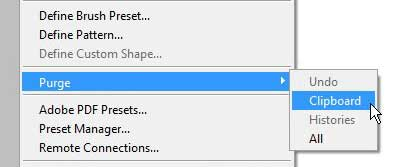 how to clear the clipboard in photoshop cs5