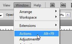 open the actions window in photoshop