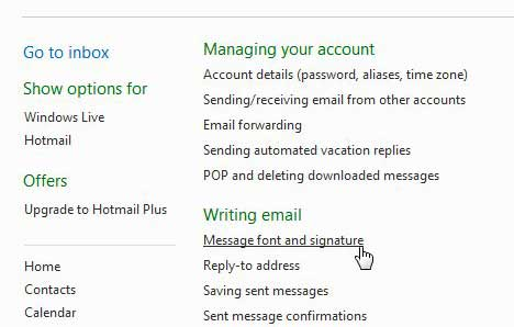 how to edit your signature in hotmail