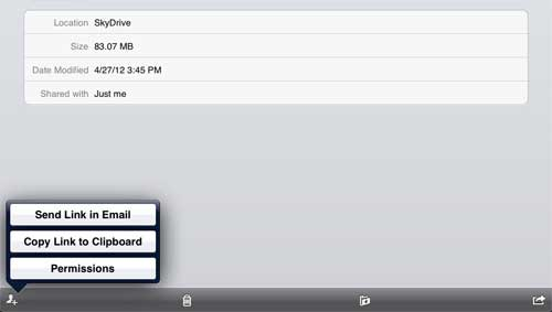 how to email skydrive files from ipad