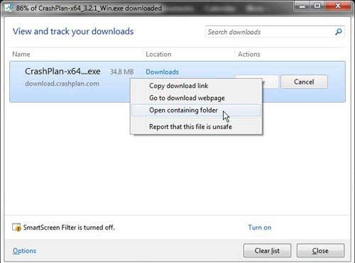 open the download folder from the download window