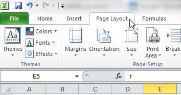 click the page layout tab in excel 2010