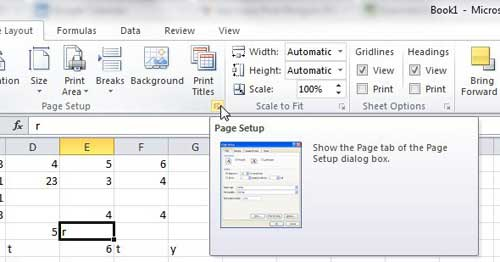 expand the excel page setup menu