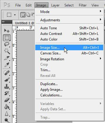 change the image size in photoshop cs5