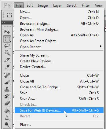 photoshop save for web and devices