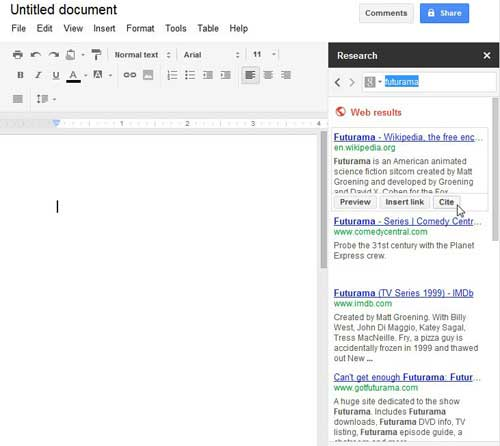 the special google docs research tools
