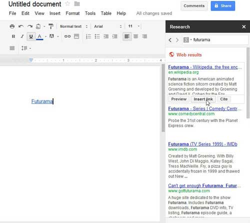 using the link tool in google docs