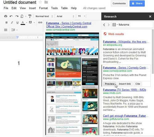 using the preview option in the google docs research tool