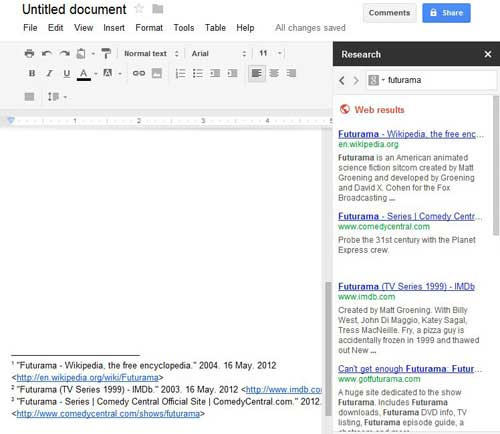 using the research tool to make citations in google docs