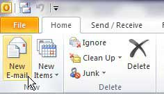 create a new message in outlook 2010