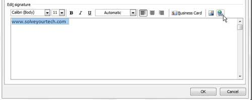 how to add a link to your signature in Outlook 2010
