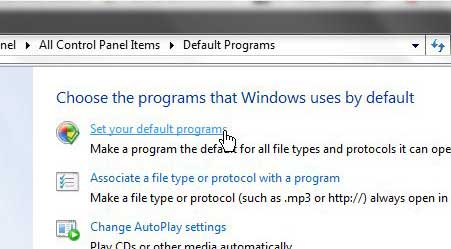windows 7 set your default programs