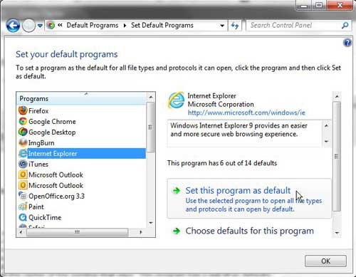how to set Internet Explorer as the default browser in Windows 7
