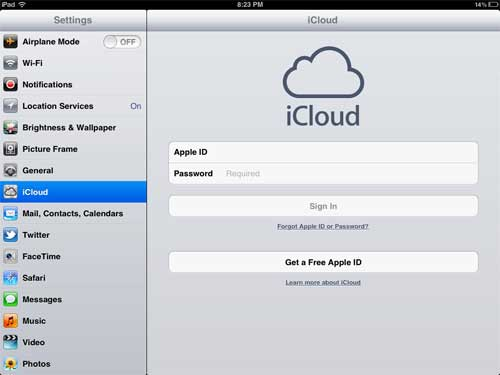 sign into icloud on your ipad