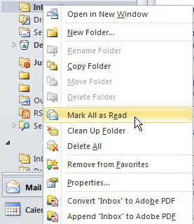 mark all messages as read in outlook 2010