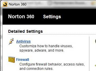 click the antivirus link to open the antivirus settings menu