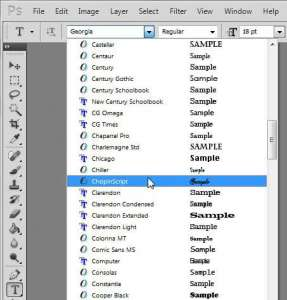 start using the added font in photoshop cs5