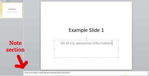 the notes section of powerpoint 2010
