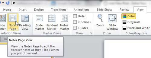 how to print just the notes in powerpoint 2010