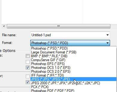 choose the JPEG file format to convert from psd to jpeg