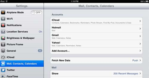 open the mail set up window on your ipad