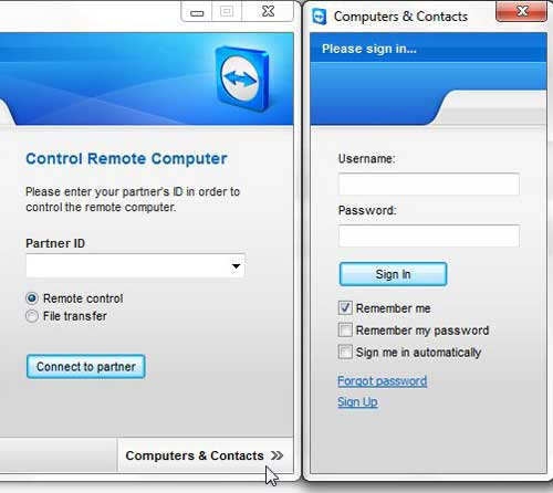 enter teamviewer credentials to access other computers on your account