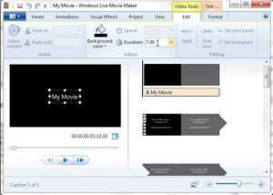 how to shorten title screen duration in windows live movie maker