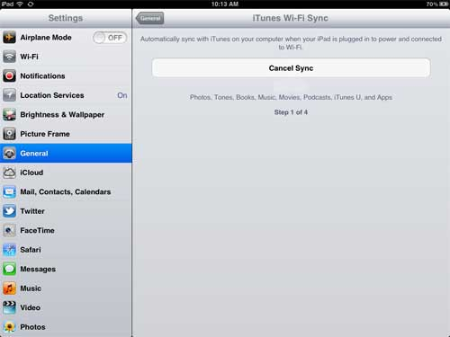 check the status of your ipad wireless sync
