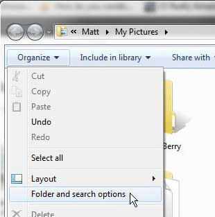 open the folder and search options window