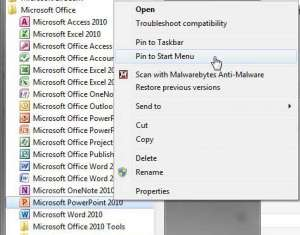 how to add a shortcut to the start menu in windows 7