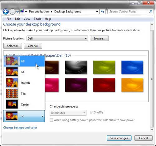 how to make your desktop picture bigger or smaller in windows 7