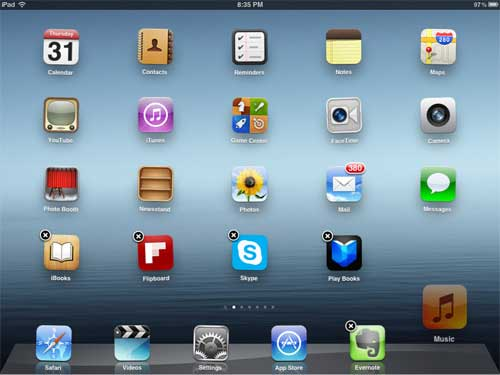 how to change the icons at the bottom of your ipad screen