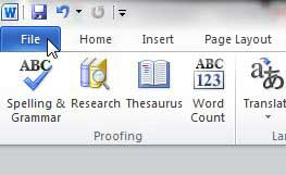word 2010 file tab
