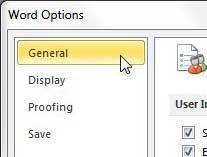 open general options word 2010