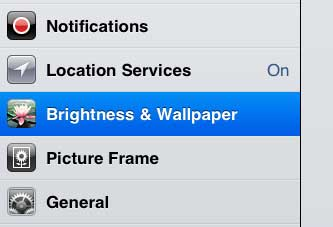 open brightness and wallpaper menu on ipad 2