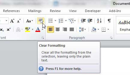 click the clear formatting button in word 2010