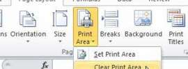 how to clear the print area in Excel 2010