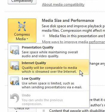 how to compress video and audio in powerpoint 2010
