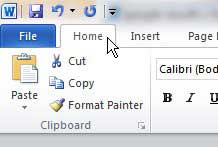 click the Word Home tab