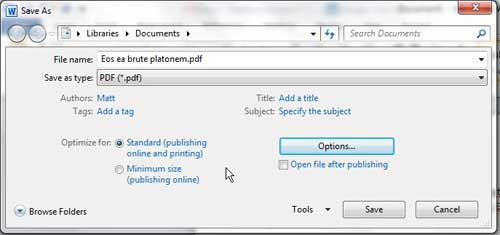 choose pdf quality in word 2010
