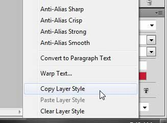how to copy a layer style to another layer in photoshop cs5