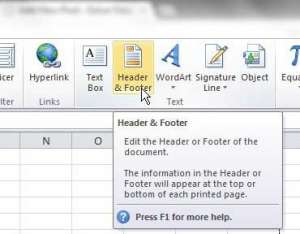 how to make a custom header in excel 2010