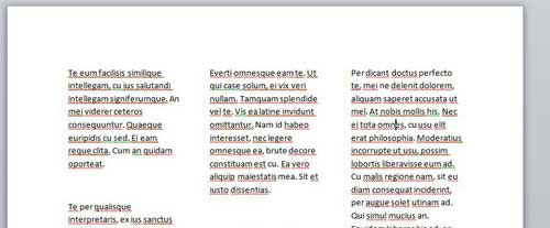 sample three column word document