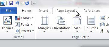 open the page layout word tab