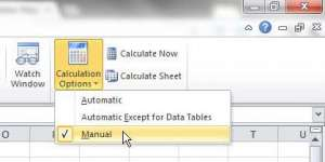 disable formula updates in excel 2010