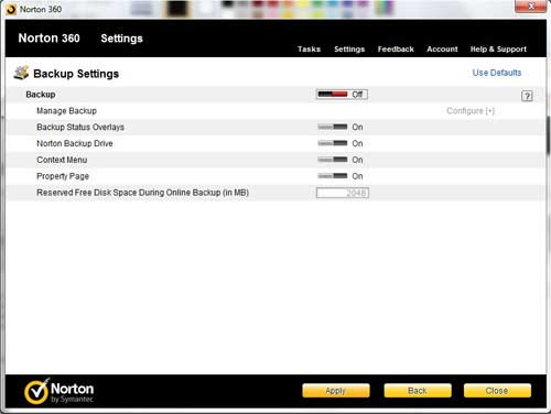 how to turn off norton 360 backups