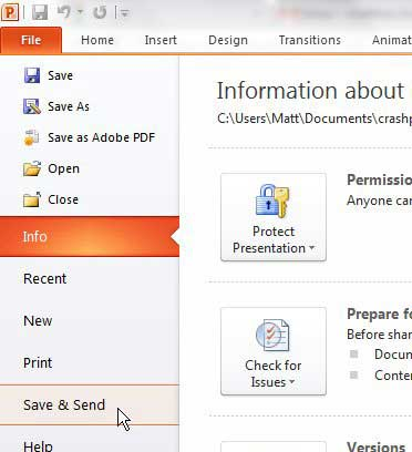 how to email a presentation in powerpoint 2010