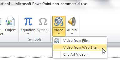 powerpoint 2010 add video from website