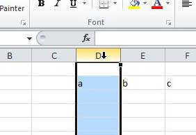 select a column in excel 2010